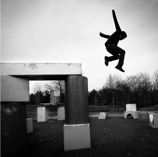 black and white photography - Geometric Parkour