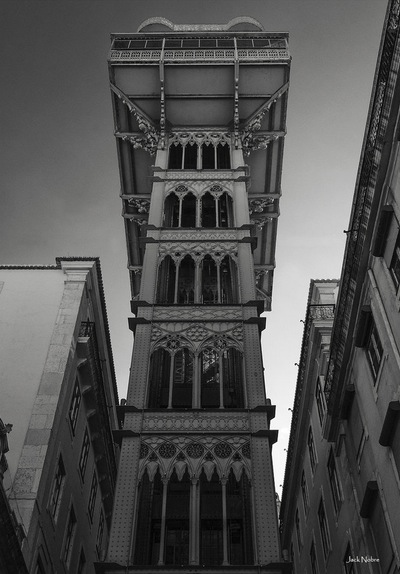 black and white photography - Santa Justa Elevator
