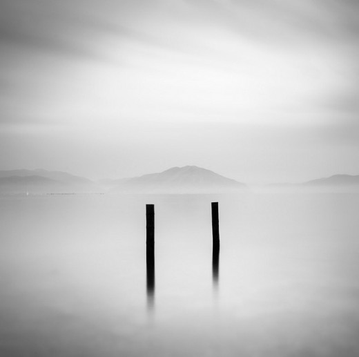 black and white photography - Two Posts