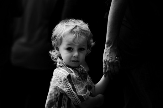 black and white photography - follow daddy