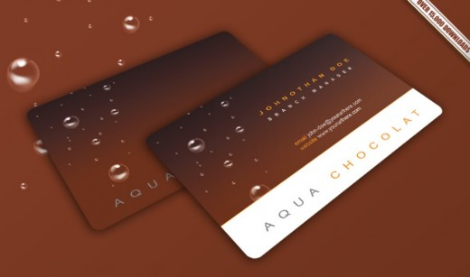 Free Business Card PSD Aqua Chocolat 520x307 30 Creative Free Business Card Templates