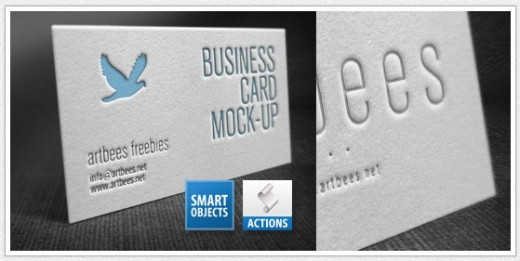 Free letterpress business card mockup
