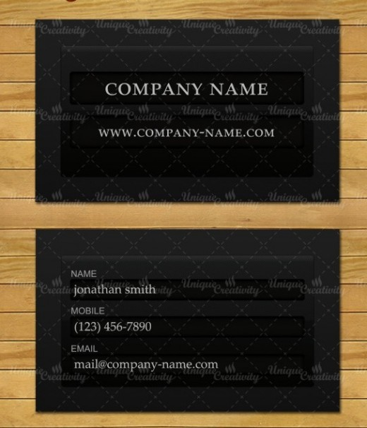 Login form business card