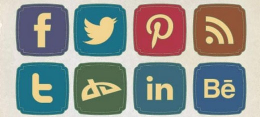 Retro Style Social Media Icons Set