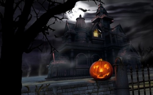 Spooky House Bats Pumpkin Full Moon