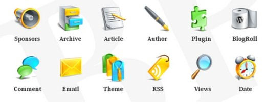 Free Glossy Blogging Icons Set for Bloggers