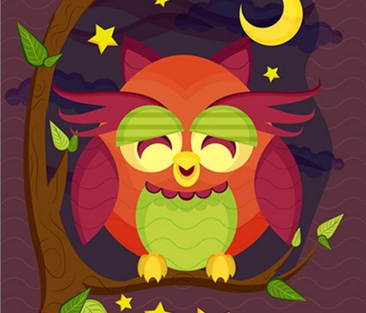 Resting Owl Scene With Brushes and Pattern in Adobe Illustrator