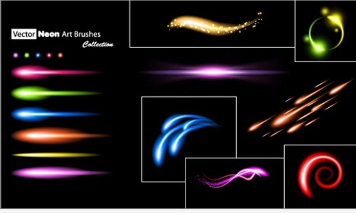 Set of Neon Art and Scatter Brushes in Illustrator